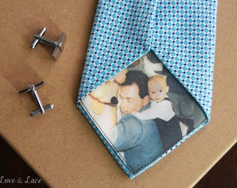 Custom Photo Tie Patch Label   Groom Gift Favors   Father of the Bride   Groomsmen   Anniversary Present   Father of the Groom   Love Note