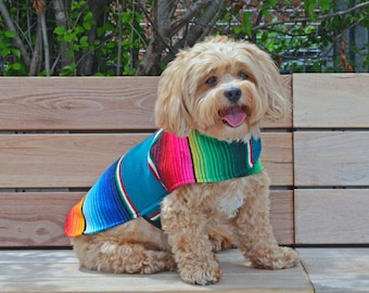 Dog Clothes - Handmade Dog Apparel From Authentic Mexican Blanket. Premium Quality Dog Poncho by Baja Ponchos