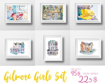 Wall Art Gilmore Girls Watercolor Prints Set,Sale,Sitcom,Gilmore girls,Lorelai and Rory,Tv Show Poster,Luke's Diner,Gilmores,Watercolor Cafe