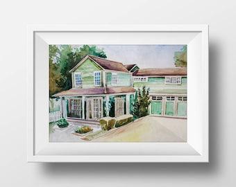 Wall Art Watercolor Edie Britt House Printdesperate Etsy