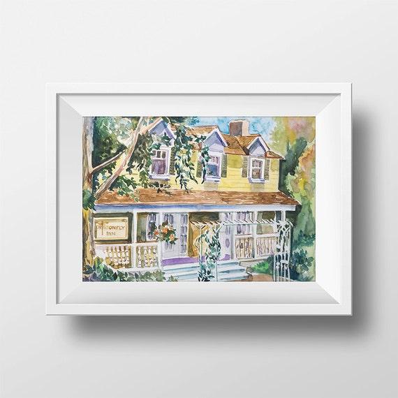 Wall Art Watercolor Dragonfly Inn. Print,Gilmore Girls,Lorelai And Rory,Tv Show Poster,Luke's Diner,Gilmores,Lorelai Gilmore,Luke Danes by Etsy
