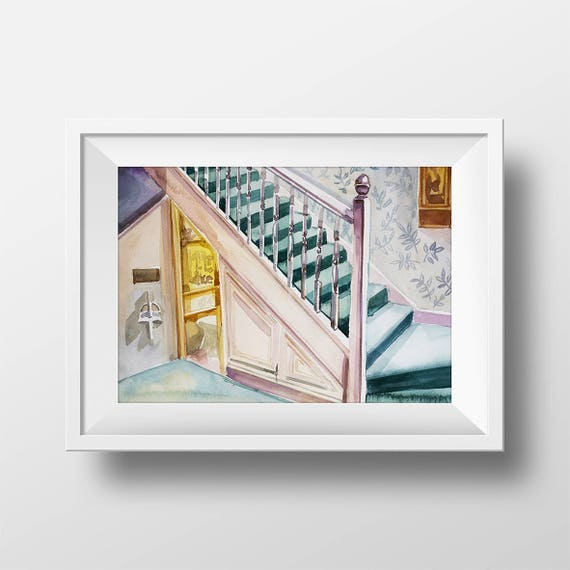 Wall Art Watercolor Harry Potter Under Stairs Bedroom Etsy