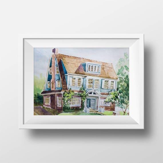 Wall Art Watercolor Bree Van De Kamp House PrintDesperate – Bree Van De Kamp House Floor Plan