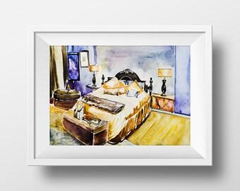 Fantastisch Wand Kunst Aquarell Blair Waldorf Schlafzimmer ...