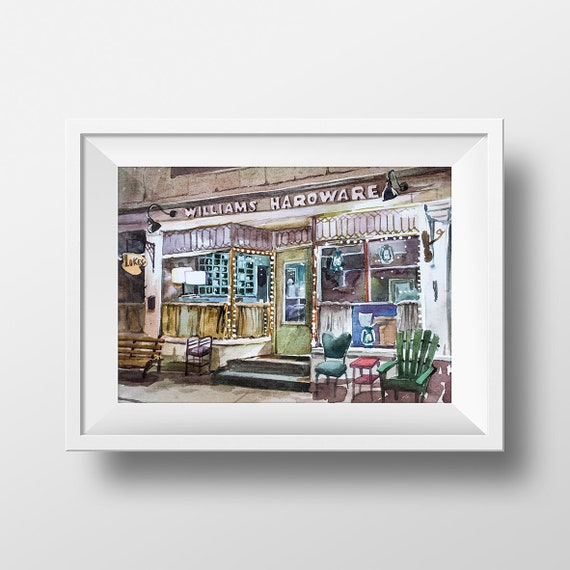 Wall Art Luke's Diner Watercolor Print,Gilmore Girls,Tv Show Print,Lorelai And Rory,Williams Hardware,Stars Hollow,Printable,Tv Series, by Etsy