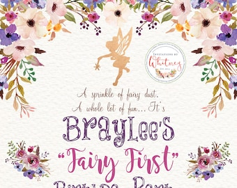 Fairy First Birthday Invitation, Fairy Birthday Invitation, Floral Fairy Invitation, Fairy Garden Invitation, Purple Floral Fairy Invitation