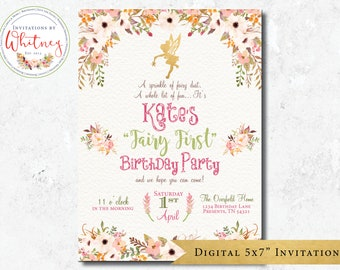 Fairy First Birthday Invitation Floral Garden Pink