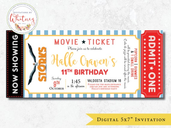 movie ticket invitation movie ticket birthday invitation etsy
