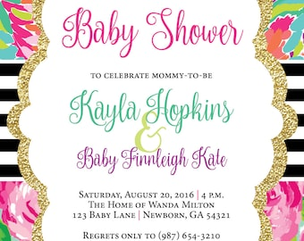 Lilly Pulitzer Invitation, Baby Shower Invitation, Floral Baby Shower Invitation, Floral Invitation, Baby Girl Shower Invitation