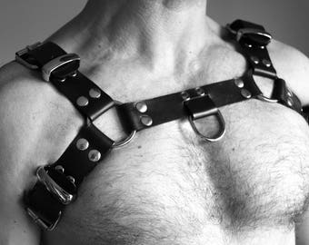 """NEW """"METAL SKIN"""" leather Fetish harness"""