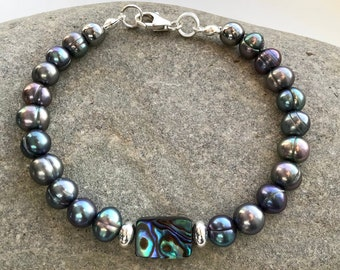 Peacock Freshwater Pearl, Abalone Shell and Sterling Silver Bracelet