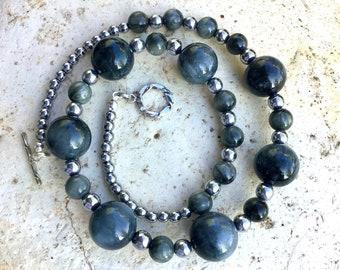 Chrysoberyl, Hematite and Sterling Silver Gem Necklace