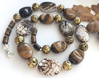 Agate, Tigers eye, Gold lava bead gem Statement Necklace