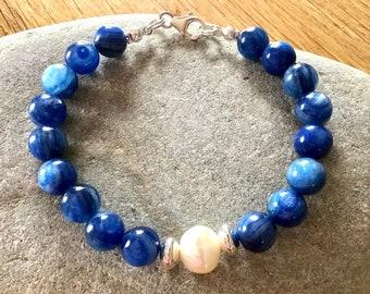 Kyanite, Baroque Pearl and Sterling Silver Bracelet