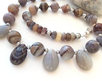 Smoky quartz beaded necklace strand 16.5 inch taupe brown gemstone jewelry capricorn birthstone
