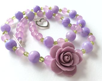 Persian Jade, Peridot and Asymmetric Lilac Stone Rose Necklace