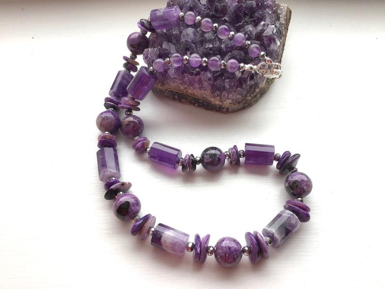 Rare Charoite Amethyst and Hematite Gem Bead Necklace