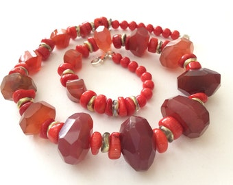 Red Chalcedony, Red Agate and Red Coral Gem Bead Statement Necklace