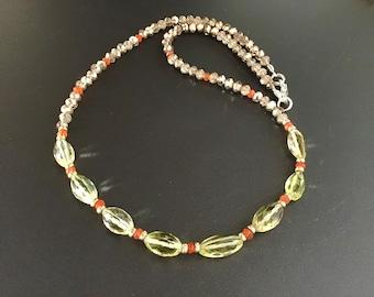 Lemon Quartz, Carnelian, Champagne crystal, 14k gold beads Gem Necklace