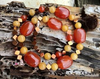 Carnelian, Gold Jade, and Copper Hematite Gem Necklace