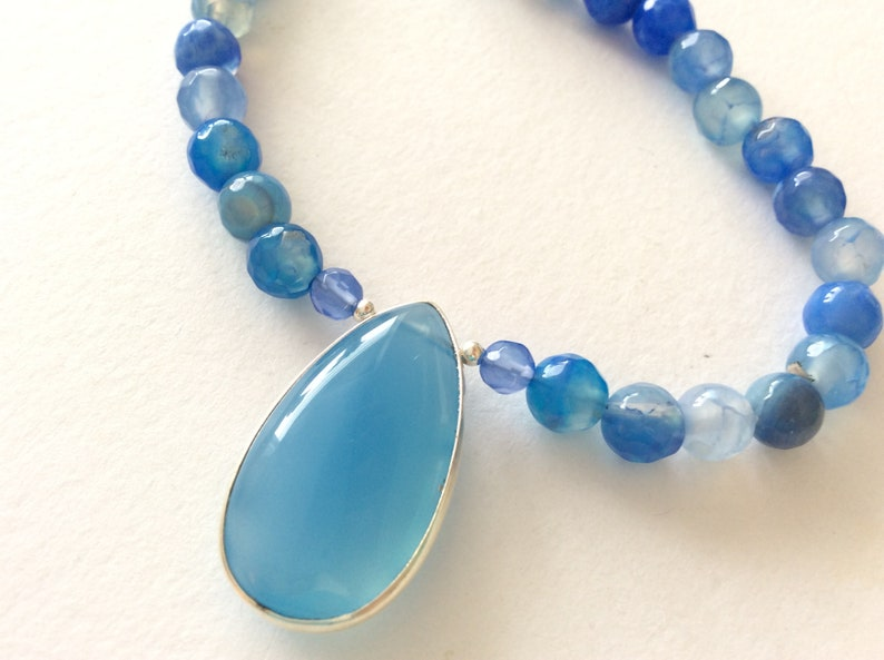 SPECIAL OFFER Sterling Silver and Blue Agate Pendant Gem Necklace 10/% OFF Blue Chalcedony