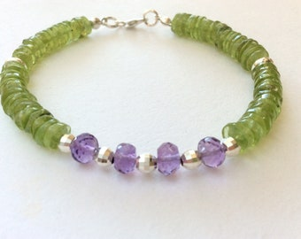 Amethyst, Peridot, and Sterling Silver Gem Bead Bracelet