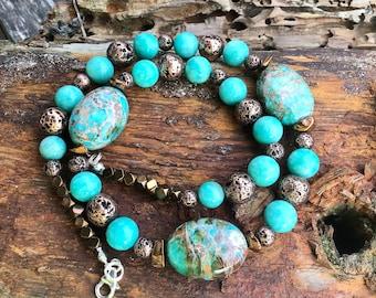 Imperial Jasper, Amazonite and Bronze Lava Bead Statement Necklace