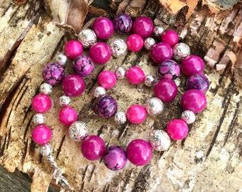 Jasper, Turquoise, Jade and Lava bead Gem Necklace