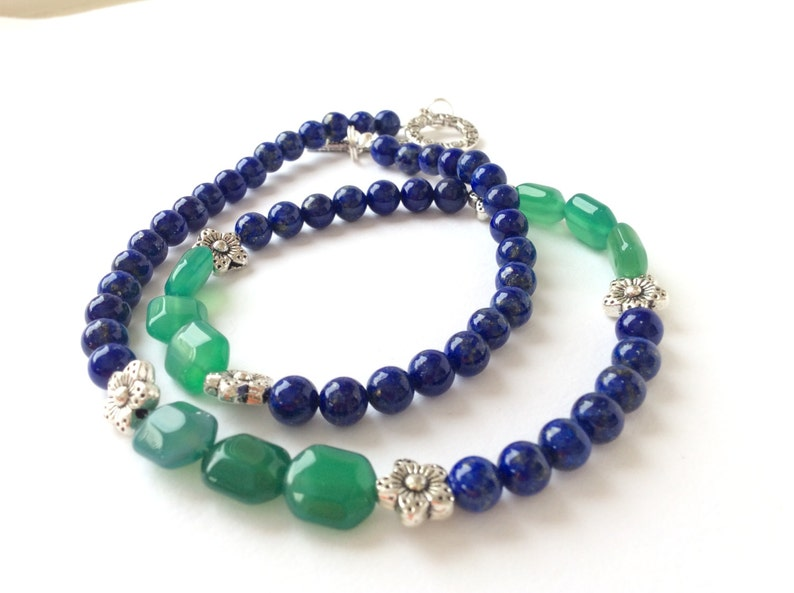 15/%OFF Lapis Lazuli and Green Agate Necklace SPECIAL OFFER