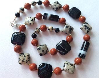 Black Banded Agate, Red jasper and Dalmation Jasper Gem bead Necklace