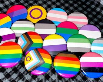 "1"" / 1.25"" / 3"" LGBTQ+ Pride Flag Buttons"