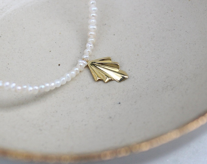 Gold 18k/14k Folds Pearly Necklace