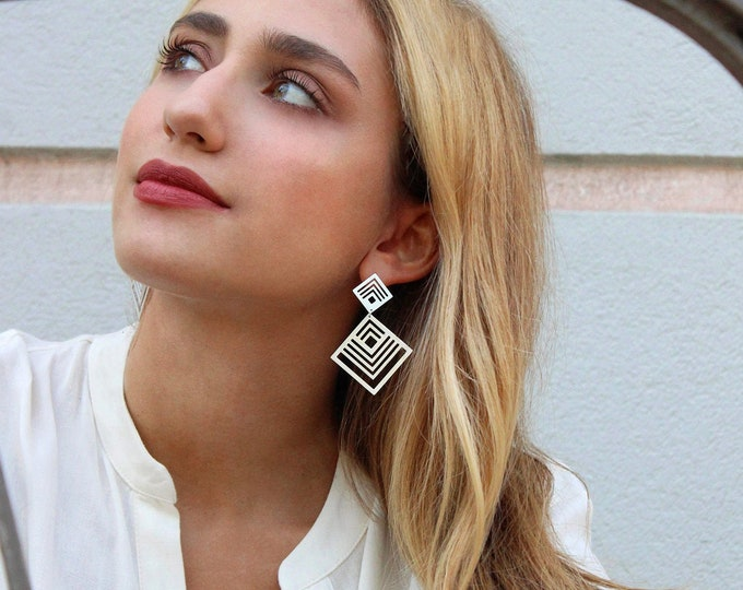 Double Fractal Cubic Earrings