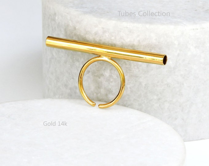 Tube Ring _ 14k Gold