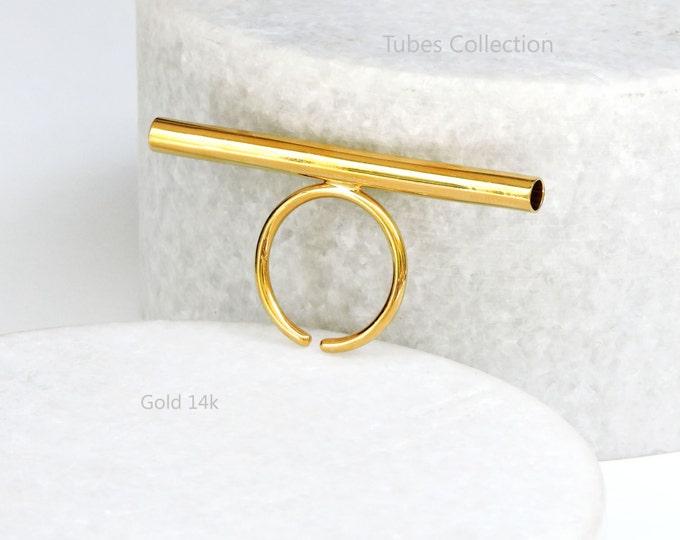 Tube Ring _ 14k Gold