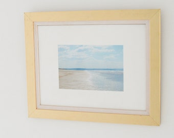 """The Crystal Path - A 10x7"""" Print of Saunton Sands Mounted in a double gold and off white frame 49cm x 39cm"""