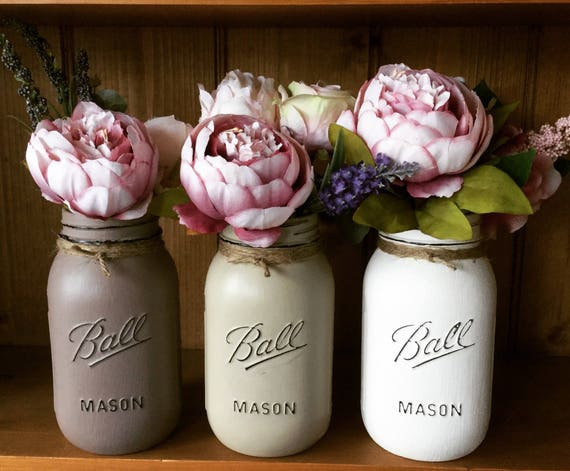 Items similar to Set of 3 large painted mason ball jars with