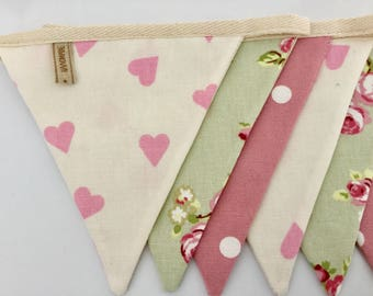 Fabric bunting, sage & rose pink country, handmade, cottage, banner, spots, stripes, floral, vintage, shabby chic, kitchen, bedroom, gift
