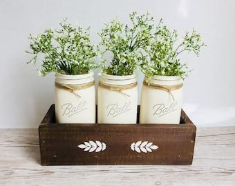 Mason jar decor. Wood decor. Rustic set of mason jars in wooden box, wide mouth mason jars painted.