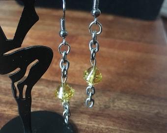 Yellow Crystal Chain Earrings