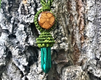Ayahuasca Necklace, Malachite Jewelry, Ayahuasca Crystal, Malachite Necklace, Gemstone Ayahuasca, Wrapped Crystal, Wrapped Crystal Jewelry,