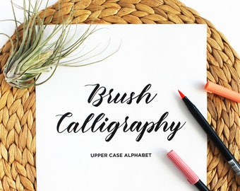 Upper Case, Capital Letter Brush Calligraphy Practice Guide, Brush Lettering Worksheets