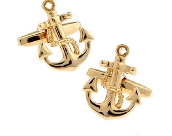 Anchor Cufflinks, Gold Tone, Nautical Collection by Puentes Denver