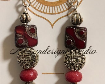 Garnet Czech Picasso square red/silver/black beaded earrings