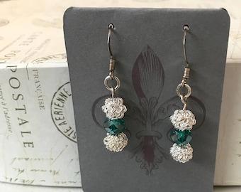 Emerald silver drop earrings