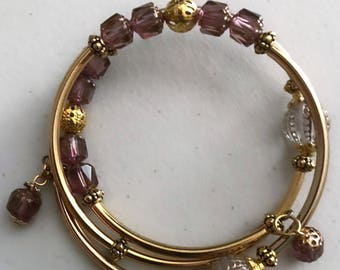 Amethyst cathedral czech glass bead memory wire bracelet