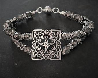 2 strand black czech glass bead bracelet