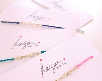 very thin bracelet, heart chain and cotton thread, witness bracelets