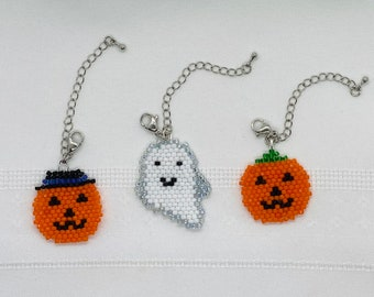 October, Breast Cancer Awareness, Halloween, Mask Charm, Cell Phone Charm, Bag Charm, Pumpkin, Ghost, Gift, Beaded Mask Charm