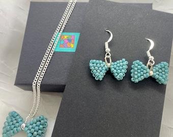 Bow Earrings, Beaded Earrings, Bow Pendant, Pendant & Earrings Sets,  Sterling Silver Earring Findings、Sterling Silver Necklace